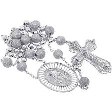 bead cross necklace images Mens diamond rosary beads cross necklace 14k white gold 9 31ct jpg