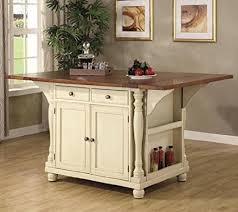 cherry kitchen island amazon com coaster large scale kitchen island in a buttermilk and