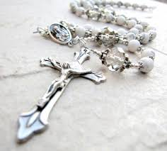 white rosary handmade white rosary necklace in silver howlite and crystals