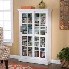 Bookcases With Sliding Glass Doors Amazon Com Sliding Door Media Cabinet White Kitchen U0026 Dining