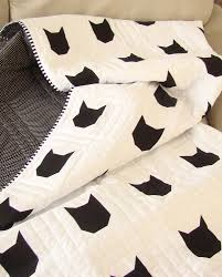 cat home decor modern toddler quilt cat quilt black and white quilt cat