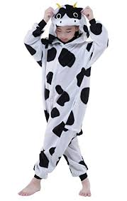 newcosplay unisex children cow pyjamas halloween onesie costume