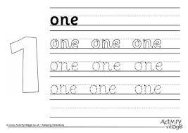 one handwriting worksheet