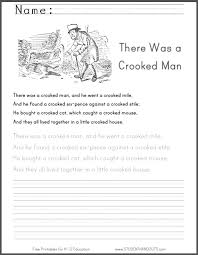 there was a crooked man nursery rhyme worksheet student handouts