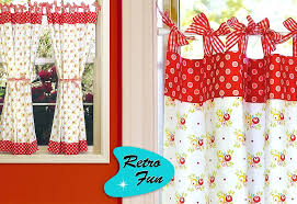 Retro Fun Kitchen Curtains With Gingham Bows SewHome - Simple kitchen curtains