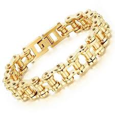 stainless steel gold bracelet images Cool stainless steel men 39 s biker chain bracelet project yourself jpg