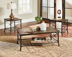 End Tables Sets For Living Room - coffe table amusing brown rectangle metal and wood rustic coffee