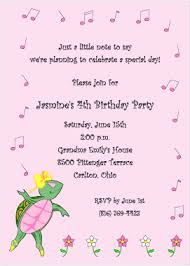 turtle tempo birthday party invitation for girls