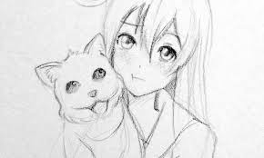 drawn anime cute pencil and in color drawn anime cute