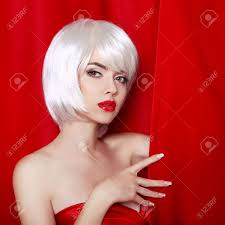 blond bob hairstyle make up beautiful face close up