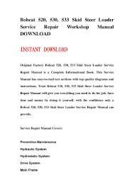 bobcat 520 530 533 skid steer loader service repair workshop manual u2026