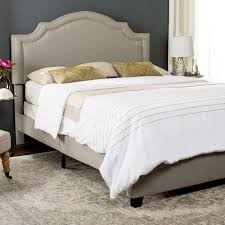 light grey upholstered bed safavieh theron light grey linen upholstered bed full free