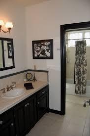 Black Bathroom Cabinet Black U0026 White Toile Bathroom Mediterranean Bathroom San