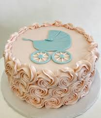 baby boy shower cake piped rosettes buttercream carriage