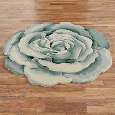 Teal Roses Rosemarie Teal Blue Flower Shaped Rugs