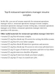 Restaurant Resume Sample by Top 8 Restaurant Operations Manager Resume Samples 1 638 Jpg Cb U003d1432193438