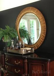 Mirror Over Buffet by Bold Black Dining Room Becolorful