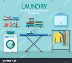 Powder Room Clothing Laundry Room Washing Machine Ironing Board Stock Vector 279748061