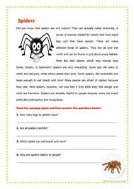 22 free esl spider worksheets