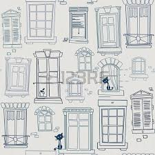 Different Windows Designs Seamless Pattern With Different Windows And Cats Royalty Free