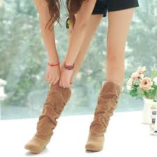 womens boots mid calf comfort flat heel frosted mid calf s boots shoes