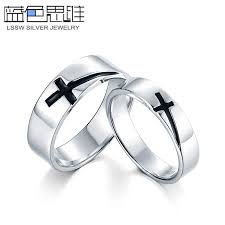 couples ring sets matching cross wedding bands blue sweet rings black cross