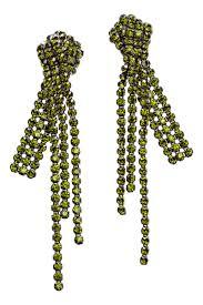 hm earrings rhinestone clip earrings green women h m us