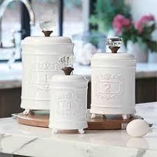 3 piece brittanie canister set in weathered white home kitchen
