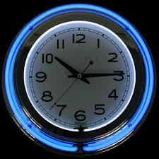 Amazon Com Trademark Gameroom Blue Chrome Double Ring Neon Clock