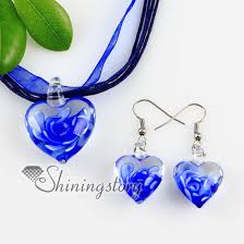 blue glass pendant necklace images Heart with flowers inside lampwork murano italian venetian jpg