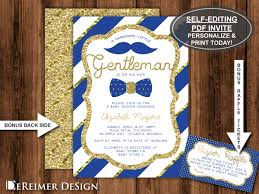 little man baby shower invitation in royal blue and gold bow tie