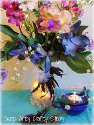 peacock centerpieces diy wedding floral centerpiece and floating candle votives