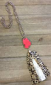 necklace red stone images Red stone w leopard tassel necklace paisley grace boutique jpg