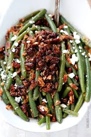 dijon maple green beans with caramelized pecans bacon feta