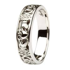 claddagh wedding ring claddagh celtic knot pave diamond set white gold wedding