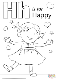 letter h is for happy coloring page free printable coloring pages