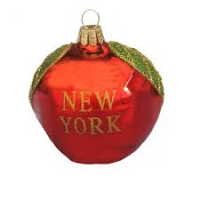 glass new york big apple ornament and city