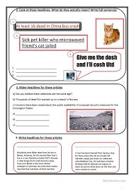 newspaper headlines worksheet free esl printable worksheets made