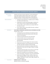 Social Media Resume Examples by Social Media Coordinator Resume Sample Resume For Your Job