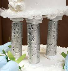cake pillars silver embroidered cake pillar covers wedding cake toppers