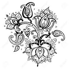 paisley ornament lotus flower vector illustration isolated royalty