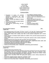Good Resumes Examples by Appealing Instrument Technician Resume Examples 57 In Resume