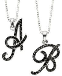 black necklace pendants images Sterling silver necklace black diamond quot m quot initial pendant 1 4 tif