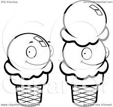 cartoon clipart of black and white sugar ice cream cones vector