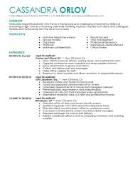 Sample Resume Objectives Retail best legal receptionist resume example livecareer