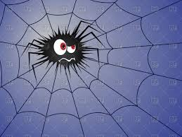 halloween spider background spider on the cobweb on blue background vector image 128063