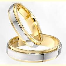 gold platinum rings images Two tone gold and platinum plated his and hers engagement wedding jpg