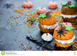 halloween recipe for kids pumpkin cupcake stock photo image