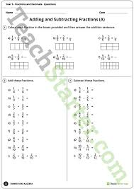 fractions and decimals worksheets year 5 teaching resource