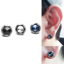 mens ear piercing men s 16g black metal barbells bar earring stainless ear